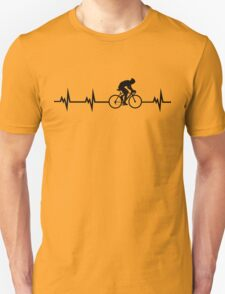 Cycling Heartbeat Black Unisex T-Shirt