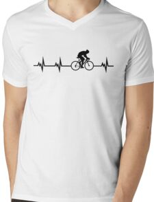 Cycling Heartbeat Black Mens V-Neck T-Shirt