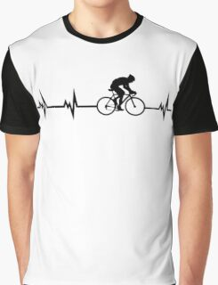 Cycling Heartbeat Black Graphic T-Shirt