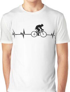 Cycling Heartbeat Black Graphic T-Shirt