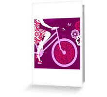 Silhouette of beautiful girl on bicycle  Greeting Card