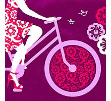 Silhouette of beautiful girl on bicycle  Photographic Print