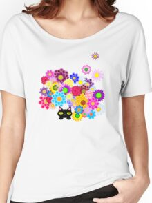 Black Cat Hiding in Flowerbed Women's Relaxed Fit T-Shirt