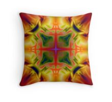 Soft drawing with colorful patterns in batik Throw Pillow