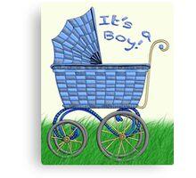Baby Pram - It's a boy! Canvas Print