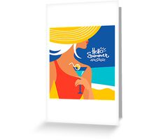 Summer background with beautiful woman silhouette Greeting Card