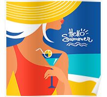 Summer background with beautiful woman silhouette Poster