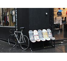 bicycles and skateboards Photographic Print