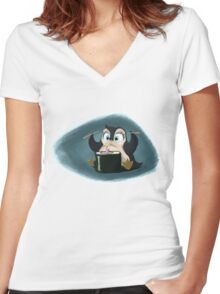 Penguin with sushi cake Women's Fitted V-Neck T-Shirt