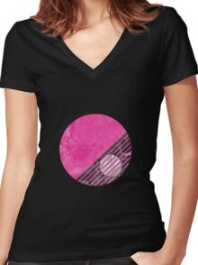 Pink Circle design Women's Fitted V-Neck T-Shirt