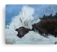 "Oregon Coast, West Coast Waves America Acrylic Painting On 11"" x 14"" Canvas Board Canvas Print"