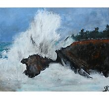 "Oregon Coast, West Coast Waves America Acrylic Painting On 11"" x 14"" Canvas Board Photographic Print"