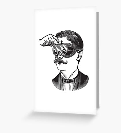 Anitique Vintage Gentleman with Goggles and Moustache Greeting Card
