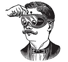Anitique Vintage Gentleman with Goggles and Moustache Photographic Print