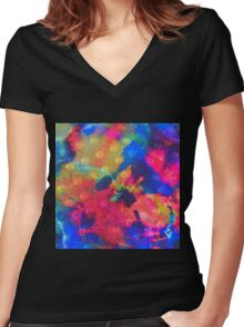 Color Happy Women's Fitted V-Neck T-Shirt