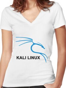 Kali Linux Dragon Stickers Women's Fitted V-Neck T-Shirt