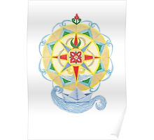Compass Rose (Yellow) - Watercolour  Poster