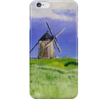 French Countryside Windmill Contemporary Acrylic Painting On Paper iPhone Case/Skin