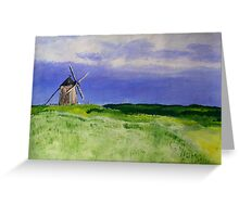 French Countryside Windmill Contemporary Acrylic Painting On Paper Greeting Card