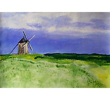 French Countryside Windmill Contemporary Acrylic Painting On Paper Photographic Print