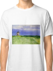 French Countryside Windmill Contemporary Acrylic Painting On Paper Classic T-Shirt