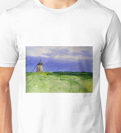 French Countryside Windmill Contemporary Acrylic Painting On Paper Unisex T-Shirt