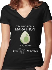 Training for a Marathon! (Pokemon Go!) Women's Fitted V-Neck T-Shirt
