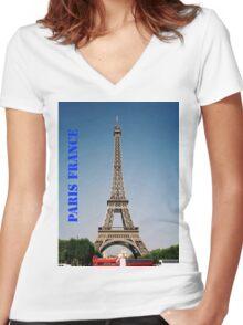 Paris France Eiffel Tower  Women's Fitted V-Neck T-Shirt