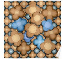 Brown and Blue Flowers Poster