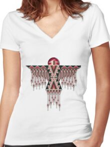 Red Native American Southwest-Style Thunderbird Women's Fitted V-Neck T-Shirt