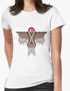 Red Native American Southwest-Style Thunderbird Womens Fitted T-Shirt