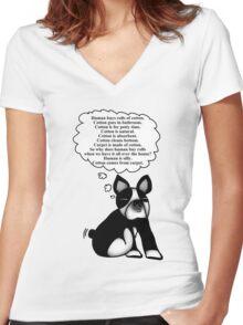 Boston Terrier: Cotton Wisdom Women's Fitted V-Neck T-Shirt
