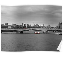 London skyline and red bus Poster