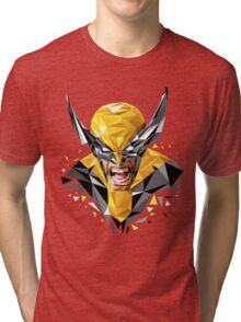 LOW POLYGON PORTRAIT - WOLVERINE Tri-blend T-Shirt