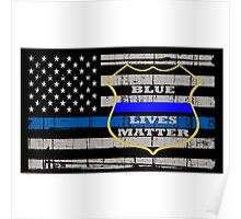 Thin Blue Line Flag POLICE COPS OFFICER All LIVES MATTER  Poster