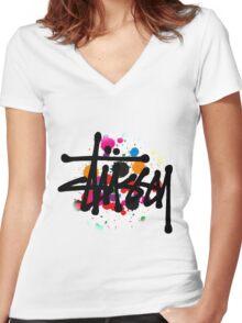 STUSSY - logo brush #MP Women's Fitted V-Neck T-Shirt