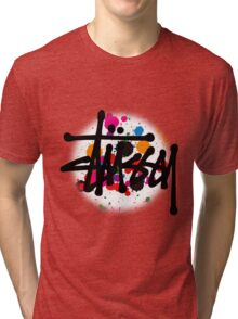 STUSSY - logo brush #MP Tri-blend T-Shirt