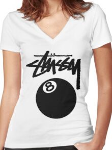 STUSSY - big eight ball #MP Women's Fitted V-Neck T-Shirt