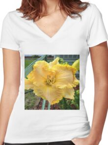 Medium yellow flower Women's Fitted V-Neck T-Shirt
