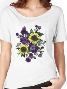 Floral Coloured Illustration Women's Relaxed Fit T-Shirt