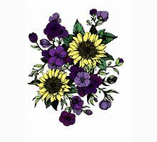 Floral Coloured Illustration Mens V-Neck T-Shirt
