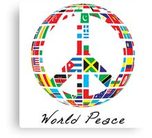 World Peace  - Peace Sign with World Nation Flags Canvas Print