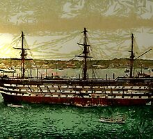 """A digital painting of """"HMS Impregnable"""", Plymouth Dockyard 19th century by Dennis Melling"""