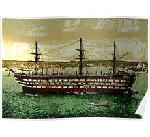 """A digital painting of """"HMS Impregnable"""", Plymouth Dockyard 19th century Poster"""