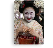Smiling Maiko Katsuru 勝瑠 Canvas Print