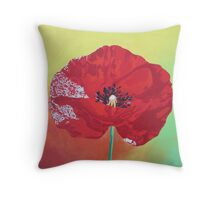 Single Stem Poppy On Red Green And Orange Background Throw Pillow
