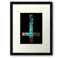 Green Galaxy Inverted Cross Framed Print