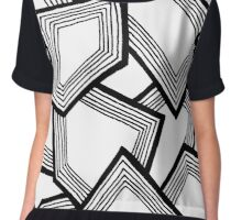 Miniature Aussie Tangle 24 Pattern in Black and White Chiffon Top