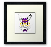 Hipster rabbit Framed Print