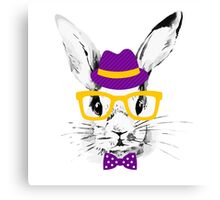 Hipster rabbit Canvas Print
